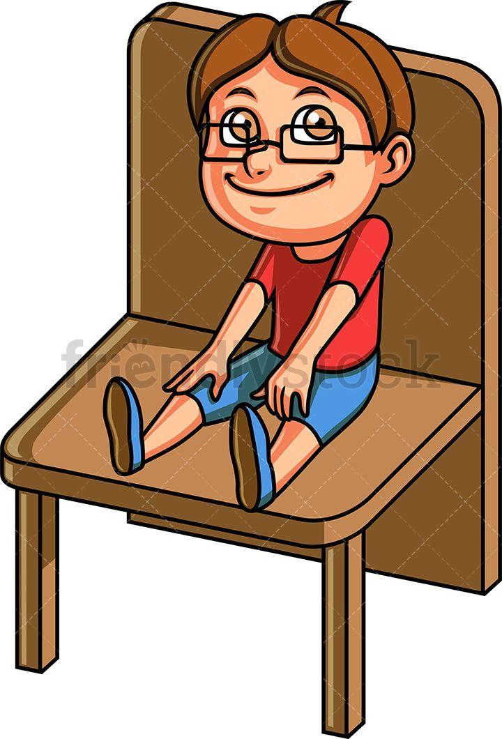 Little boy sitting on a chair cartoon clipart vector
