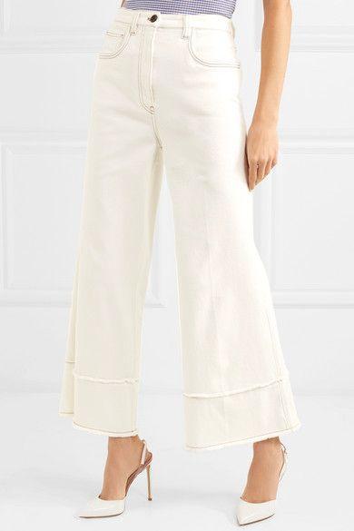 High waisted cropped jeans - White Miu Miu 4ROdg9