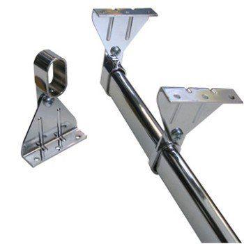 Kit barre de penderie sous pente avec support rond chromé, D 18 mm
