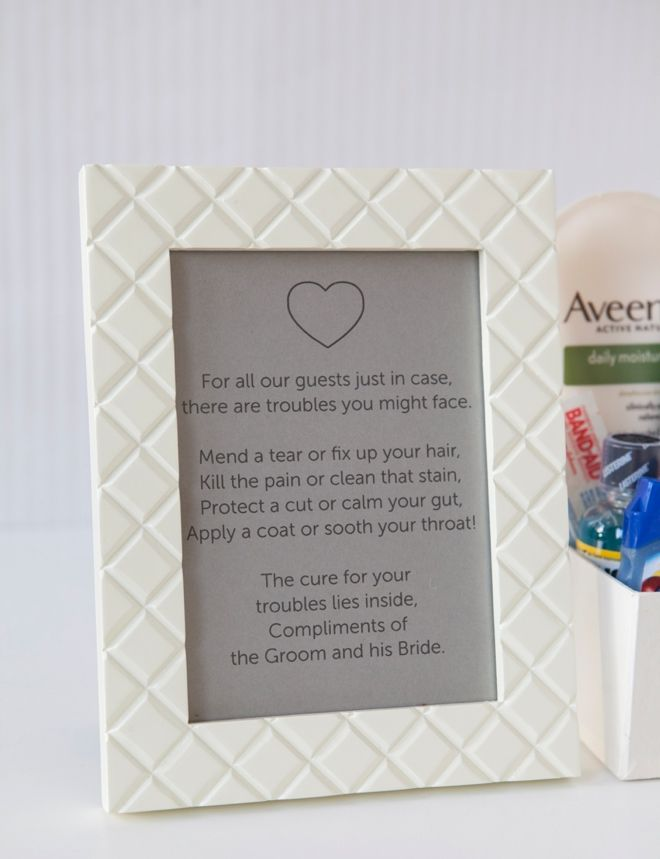 Wedding Bathroom Kit Sign learn how to make your own bathroom emergency kit! | free