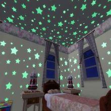 100 Pcs Set Home Decor Home Da Parede Teto Estrelas Brilham No