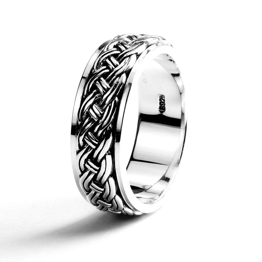 rotatable mens rings vintage punk hemp rope design real 925 sterling