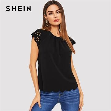 cca45a56b0 SHEIN Black Laser Cut Keyhole Back Scallop Hem Solid Tee Round Neck Cap  Sleeve T Shirt Women Summer Casual Plain Tshirt Tops