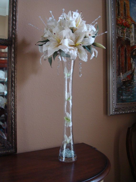 Tall Lily And Rose Floral Arrangement By Dubosecenterpieces 6500