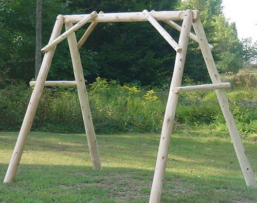 4 Cedar Log Porch Swing Frame Frame Only Briar Hill Furniture Porch Swing Frame Porch Swing Cedar Log