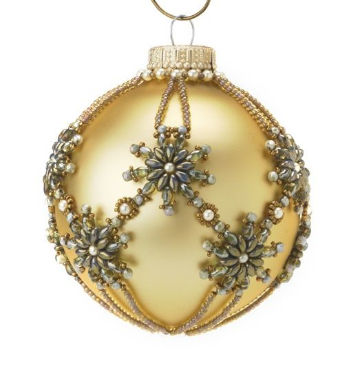 Snowflower ornament - Jewelry Store--This ornament works up quickly using Superduo beads