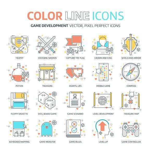 Color line, game development   Line icon, Color lines ...