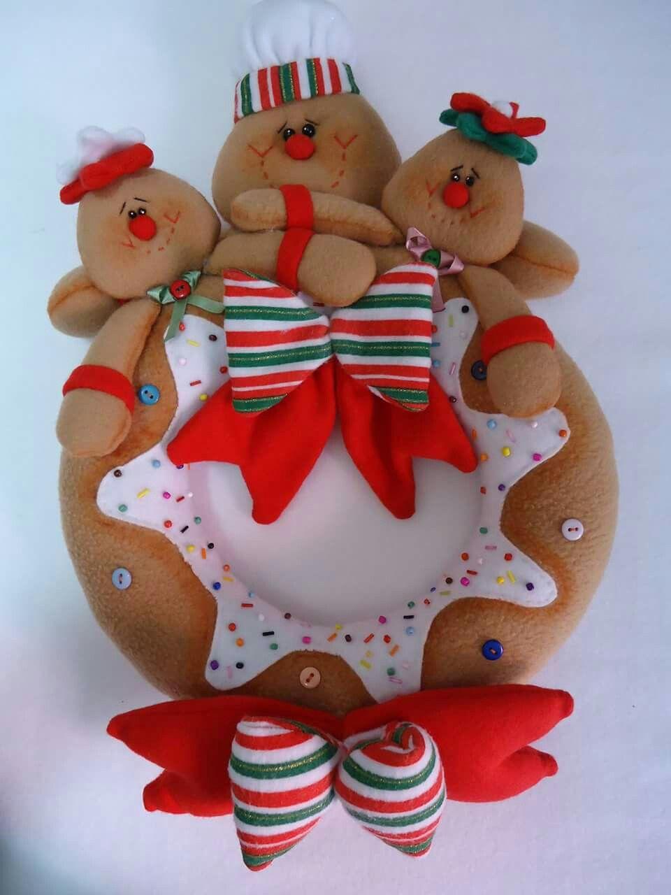 Corona Jengibre Alegre Navidad Pinterest Jengibre Coronas Y  ~ Manualidades De Fieltro De Navidad