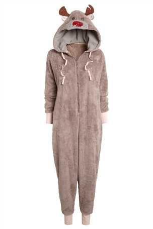 S-Fly Mens Cozy Adult Winter Zipper Thicken Hooded Nightwear Reindeer Onesie Pajamas