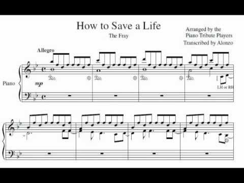 Sheet Music Piano Tribute Players How To Save A Life With