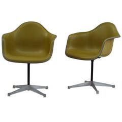 Eames Bucket Swivel Chairs in Alexander Girard Olive Chartreuse Naugahyde