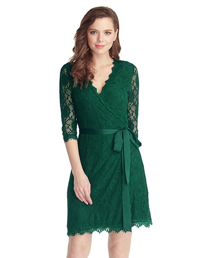 1f8ec5260eb Amazon.com: Grapent Women's Lace 3/4 Sleeves Midi Business Cocktail Short  Formal Wrap Dress: Clothing Price: $56.00 Sale: $37.99