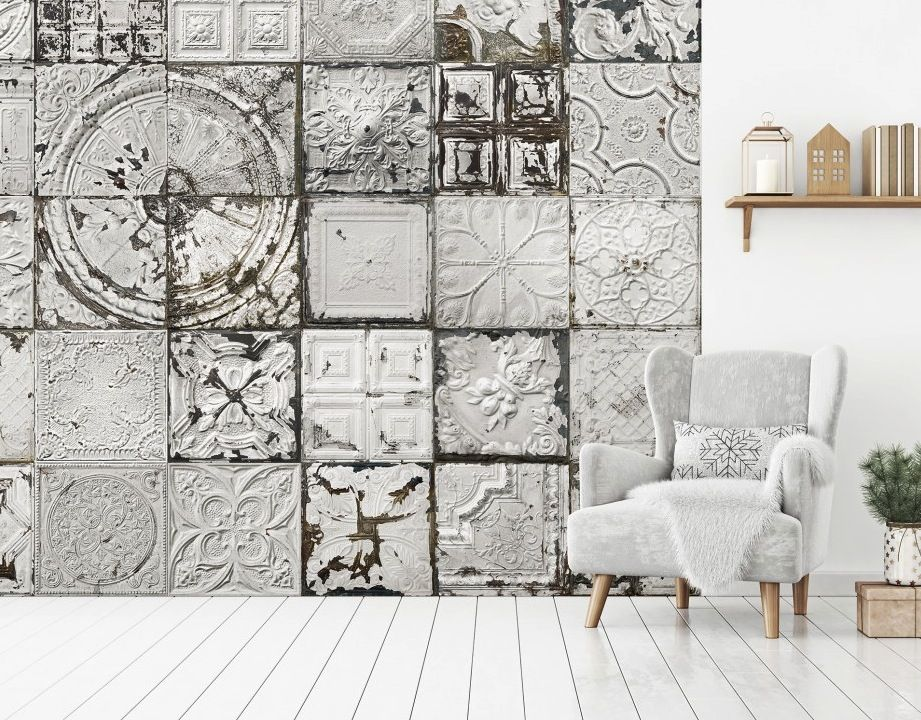 This Is Wallpaper New Tin Tiles Wall Murals Collection By Koziel Ceiling Tiles Accent Wall Victo Tile Accent Wall Accent Wall Entryway Victorian Wallpaper