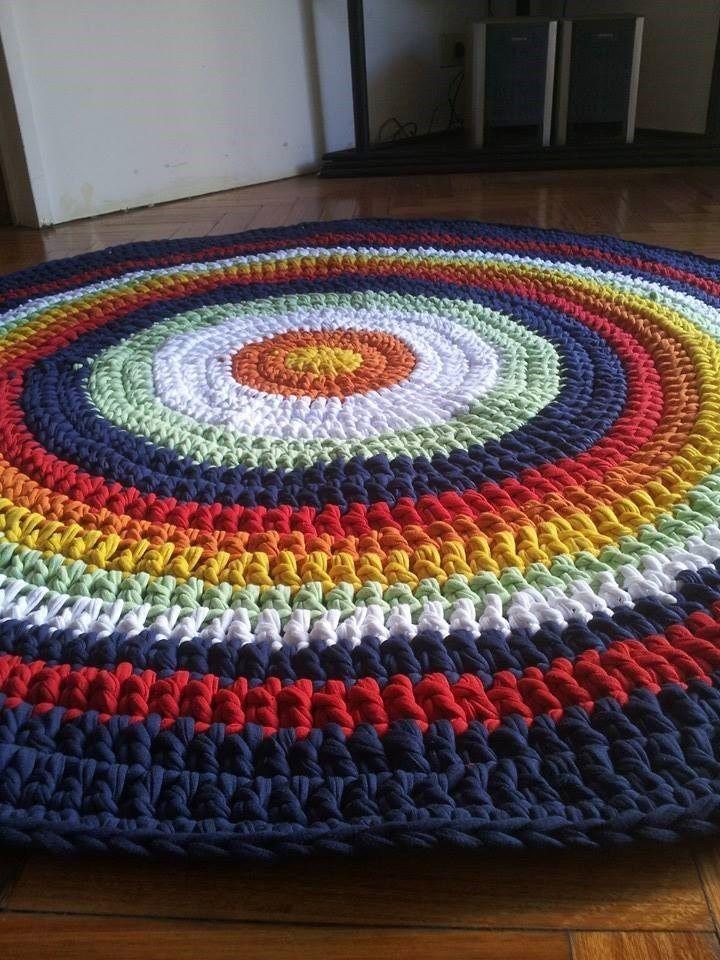 Alfombras tejidas crochet con hilo totora tela de algod n for Alfombras de algodon indias