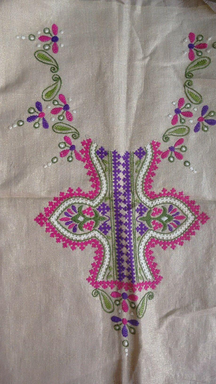Kutch work neck yoke by sonal kuchh work embroidery pinterest