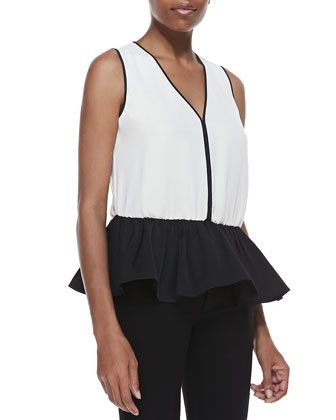 Georgette Peplum Top by Halston Heritage at Neiman Marcus. i'll make it in COTTON.