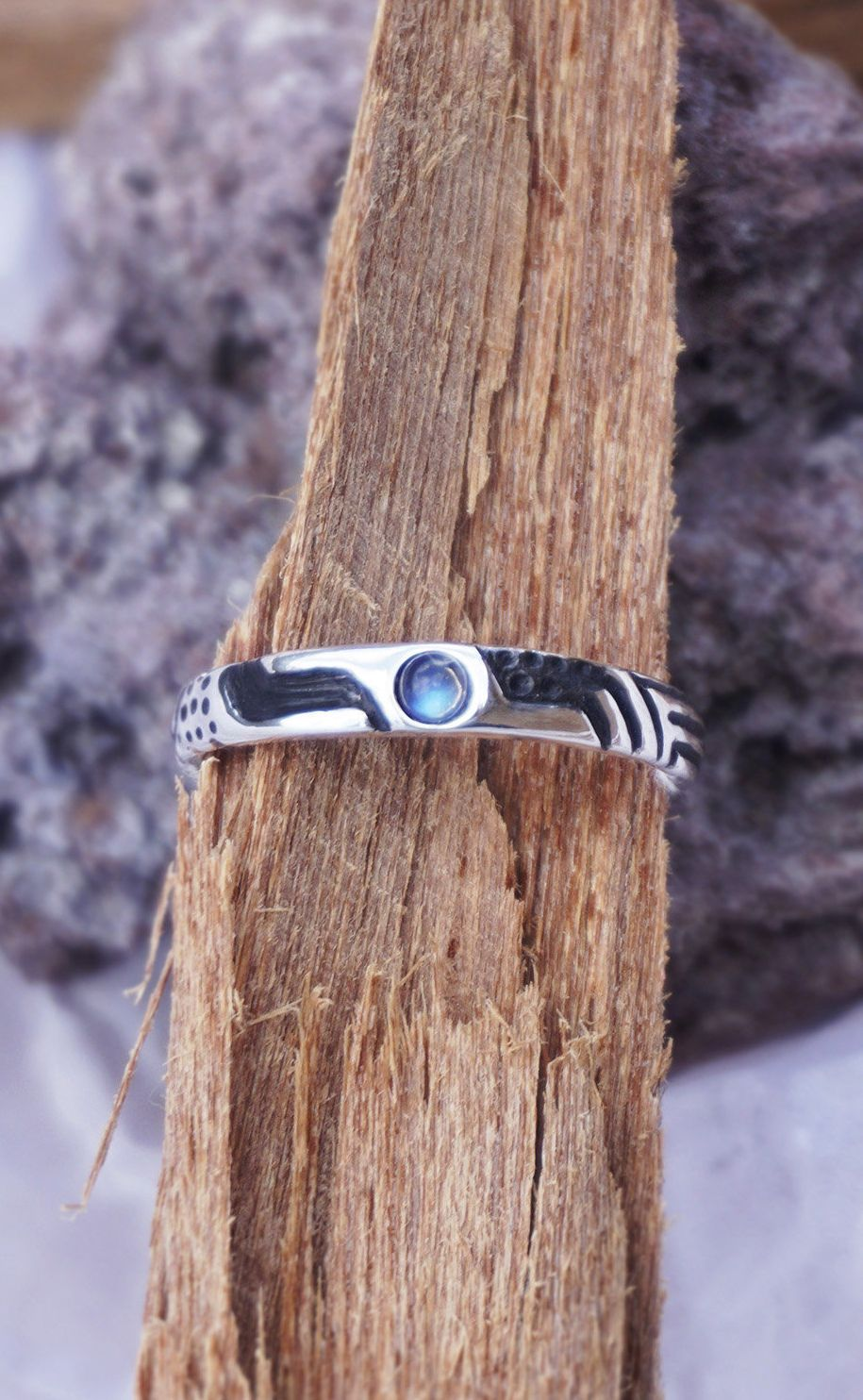 Moonstone ring mens wedding band sterling silver ring