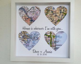 First Anniversary Gift Paper Gift Map Heart Art Framed Any Location Worldwide One Year Gift 1st Anniversary Valent Map Heart Art Map Gifts Custom Wedding Gifts
