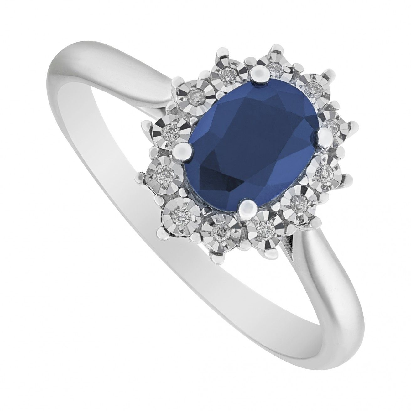 Miore Women's 9 ct White Gold Oval Sapphire Ring 1cH57F