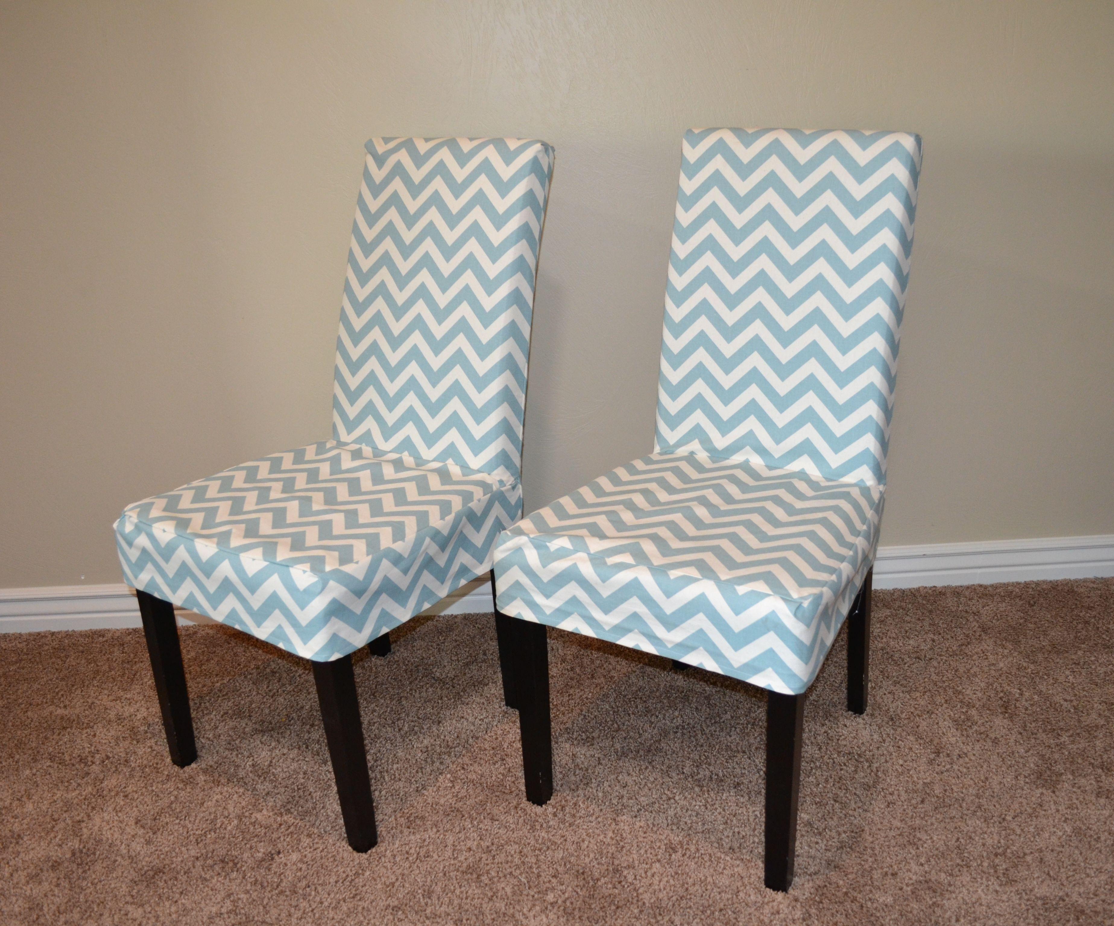 Parson Chair Chevron Slip Cover Tutorial   House   Pinterest