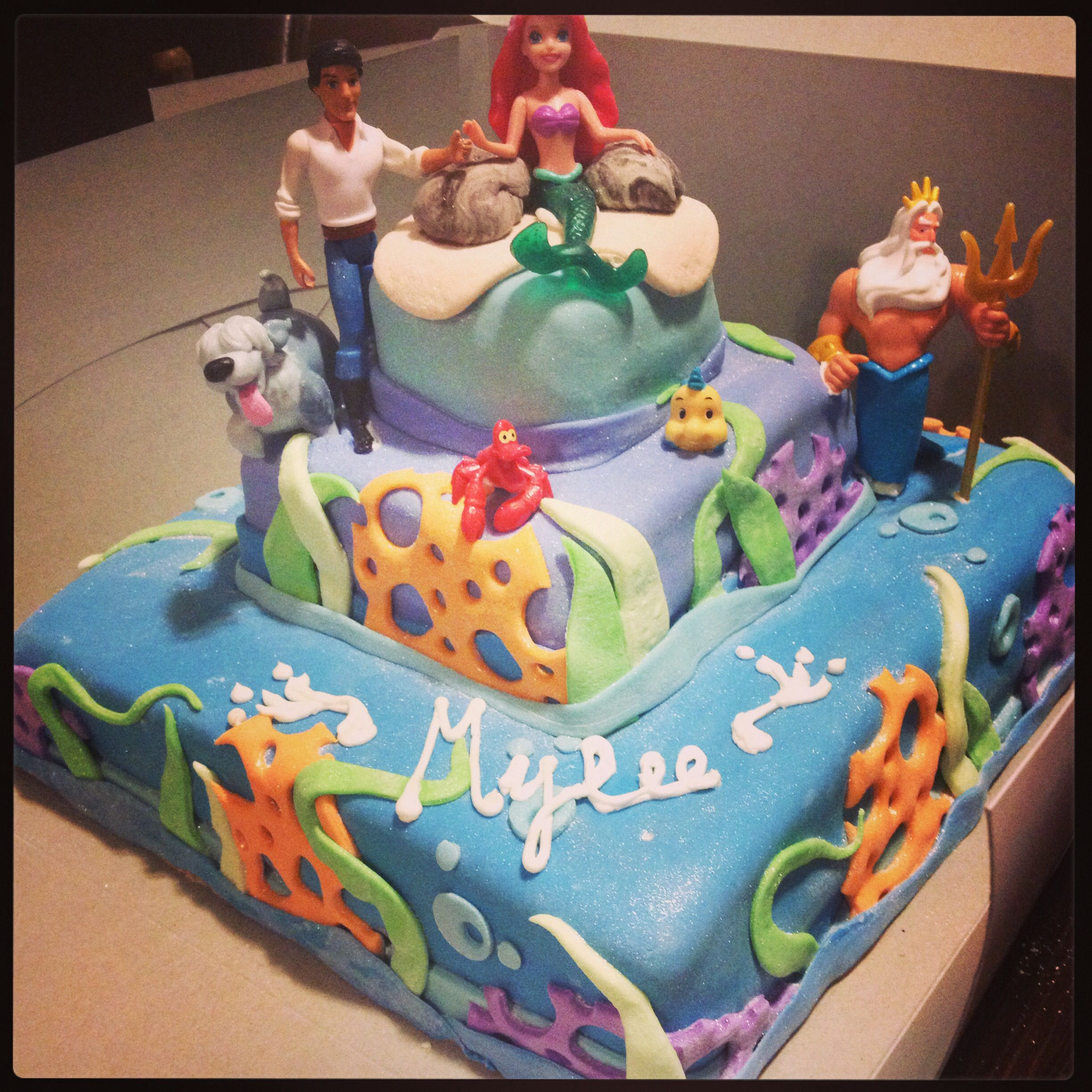 The little mermaid birthday cake cake decorating for Ariel cake decoration