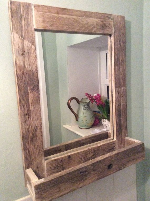 rustic bathroom mirror made from reclaimed pallet wood. Black Bedroom Furniture Sets. Home Design Ideas