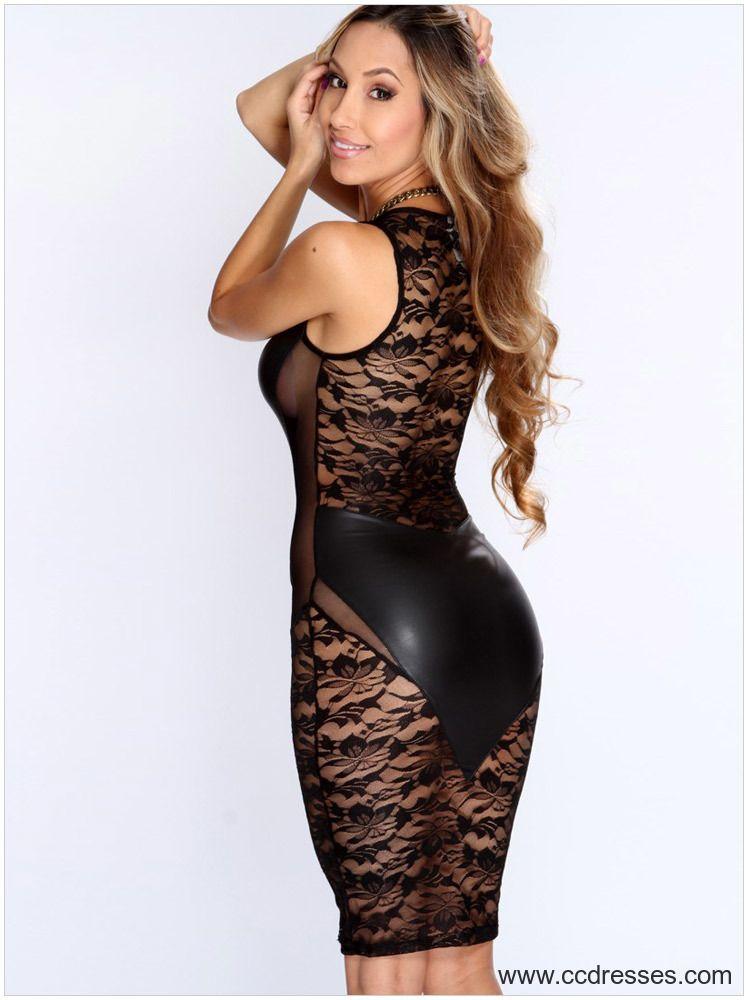 New Winter 2015 Women Fashion Autumn Black Lace Nude