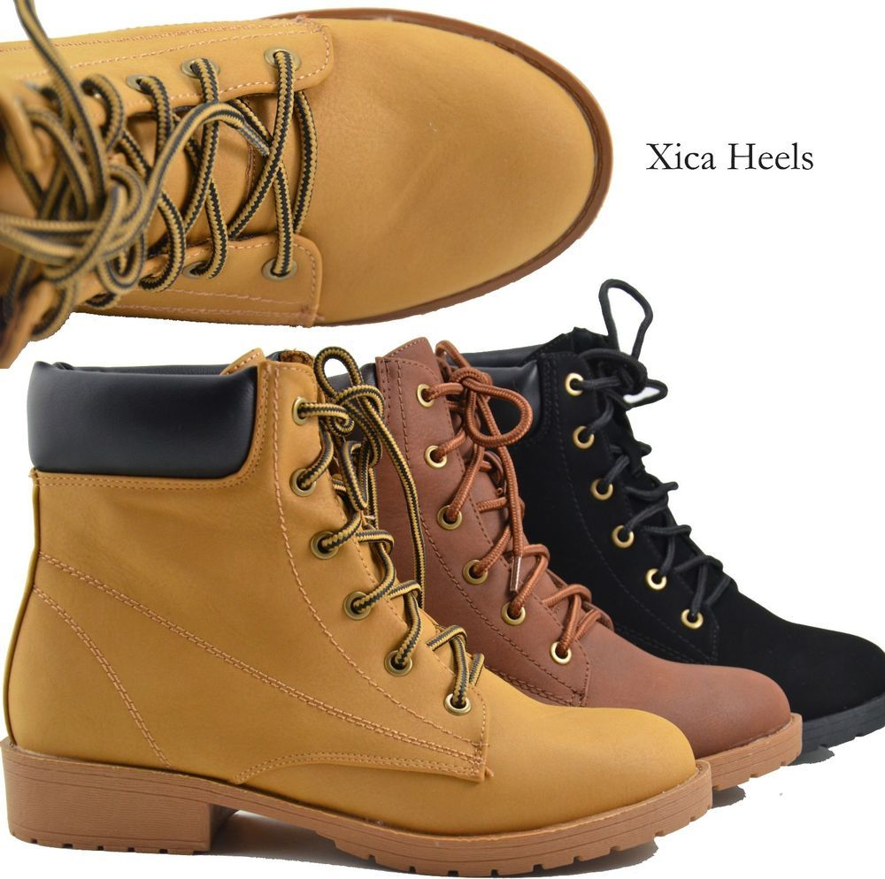 Details about Women's Ankle Boots Lace Up Faux Combat Military ...