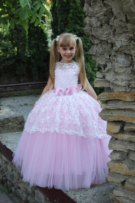 20e84cb7ef3 Lace Flower Girl Dress - Birthday Wedding Party Holiday Bridesmaid Ivory  Pink Aqua Blue Lilac Pink Bright Yellow Lace Flower Dress