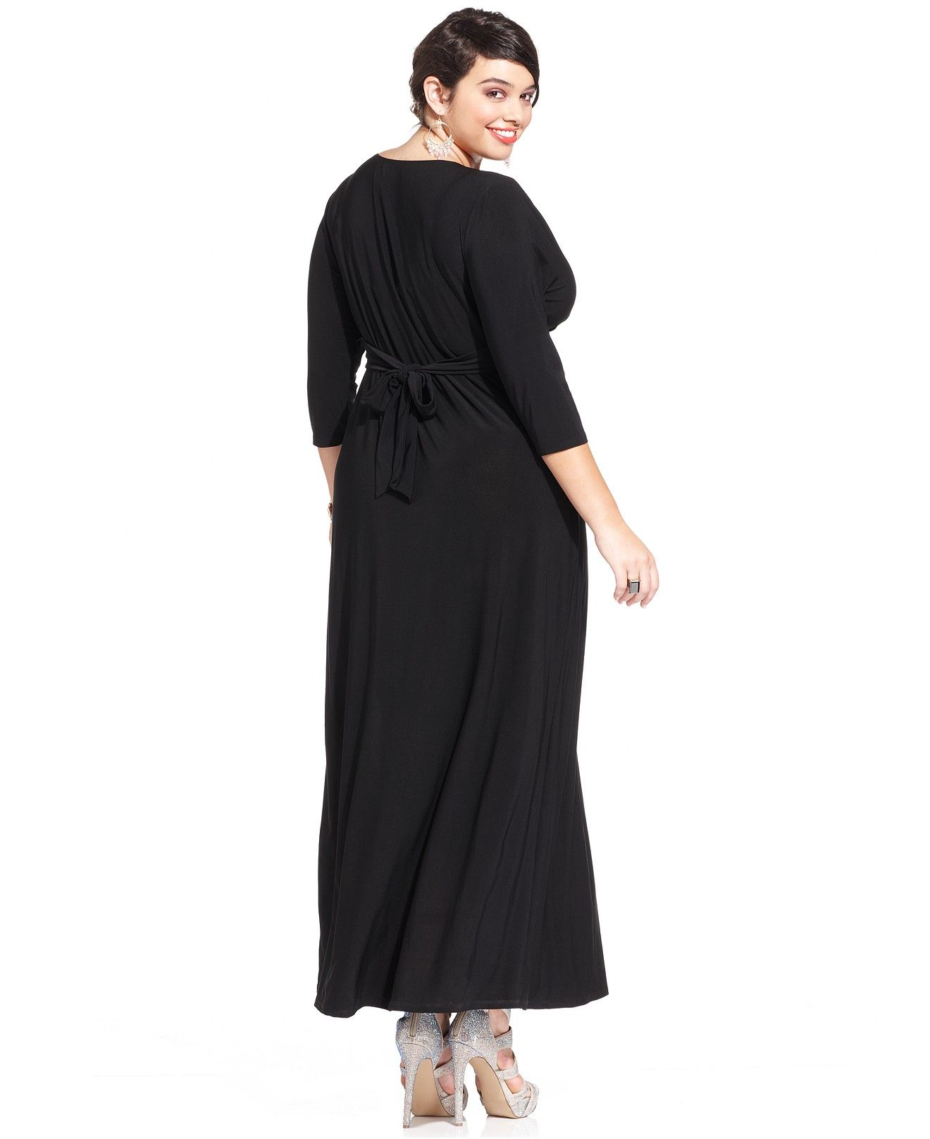 Plus Size Three-Quarter-Sleeve Knotted Maxi Dress | I want ...