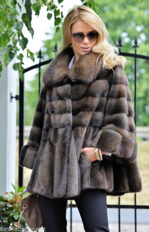 ROYAL SAGA MINK RUSSIAN SABLE BARGUZIN FUR SWINGER COAT CLASS- FOX JACKET PONCHO
