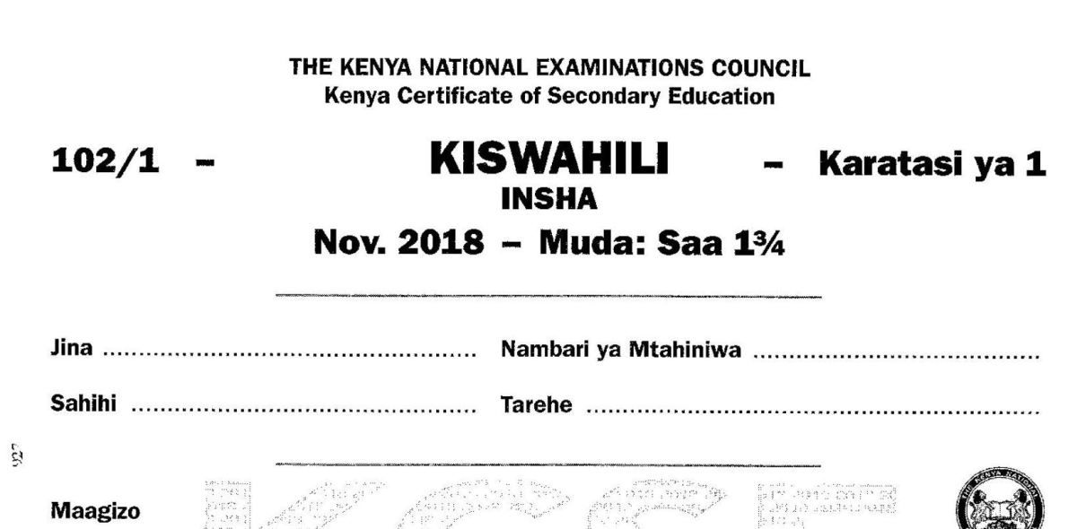 Kcse kiswahili paper 1 2018 with knec marking scheme answers – Artofit