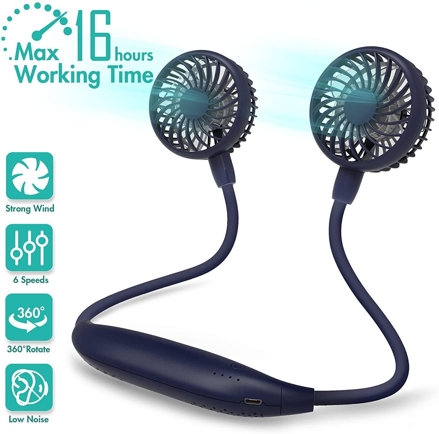 Neck Fan 2600mah Battery Operated Neckband Fan 6Speed