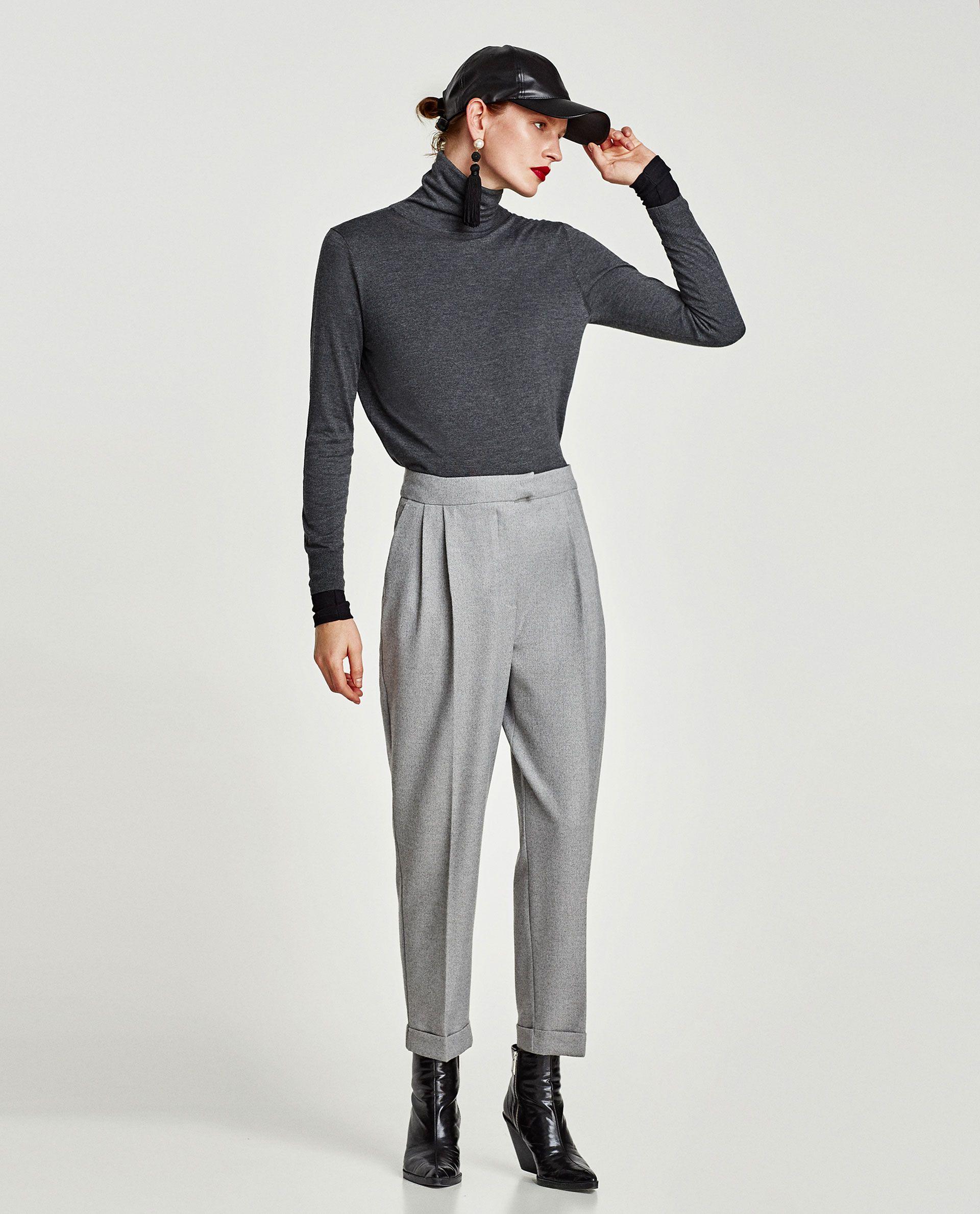 Imagen 1 De Pantalon Franela Pinzas De Zara Clothes Design Fashion Zara