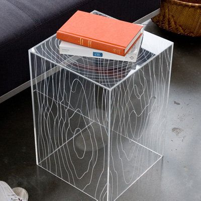Interesting accent piece Timber table, Acrylic furniture
