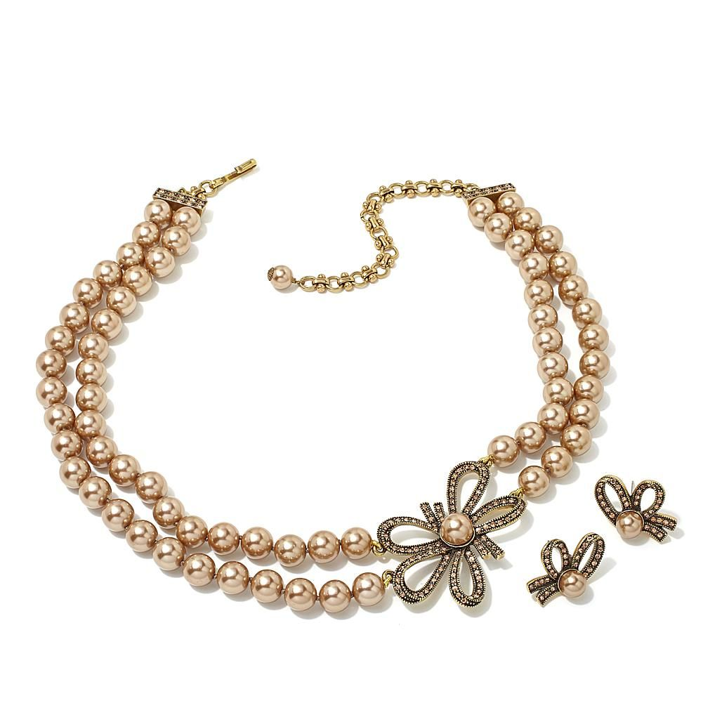 "Heidi Daus ""Bow Advice"" Beaded Necklace and Earrings Set - Tan"