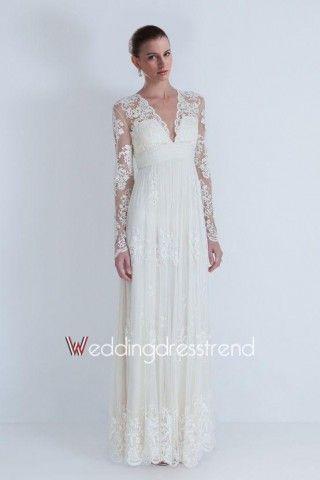 Best Vintage Sheath V-neck Lace Wedding Dress - Shop Online for ...