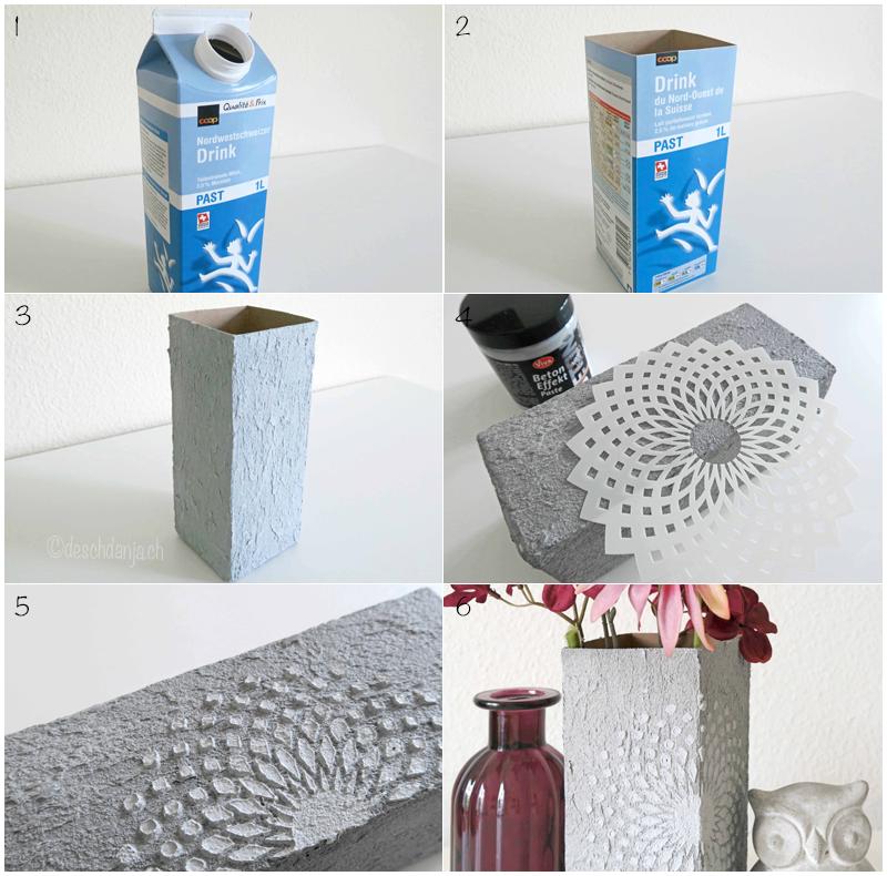 diy mit bettoneffektpaste aus einem alten tetra pak eine vase im betonlook selber machen. Black Bedroom Furniture Sets. Home Design Ideas