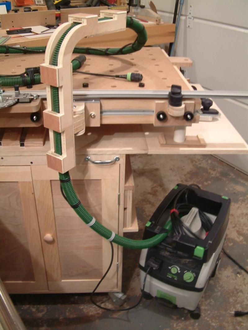 Here39s A Breadboardlook Of How It39s Hooked Up Very Nice Bench Hugging Boom Arm For Festool Vac Woodworking In