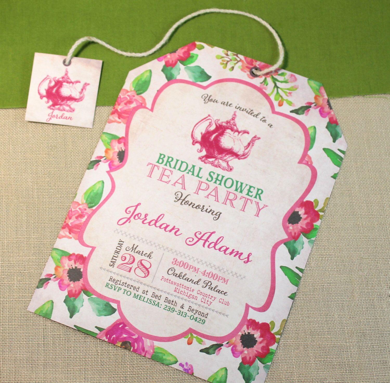Bridal Shower Invitations Tea Party Floral Vintage Water Color Or ...
