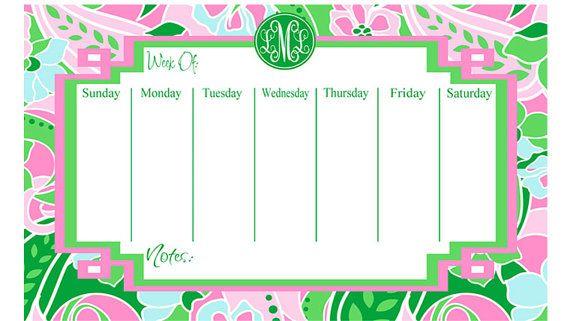 Monogrammed Desk Calendar - Personalized Desk Calendar - Weekly Calendar - Planner - PINK PREPSTER
