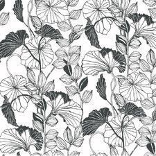 """Black and White Leaf Outline 27' x 27"""" Floral and Botanical Roll Wallpaper"""