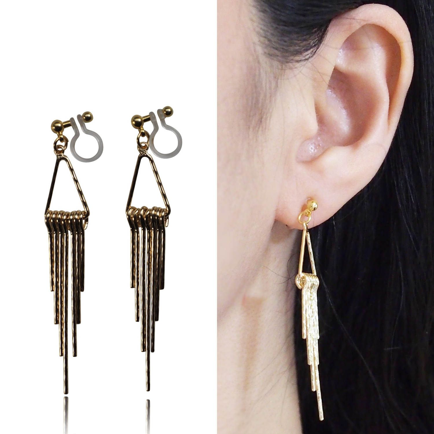 Gold Fringe Invisible Clip On Earrings Dangle Bar Boho Ons Non Pierced Long Gift For Her By Miyarace Etsy