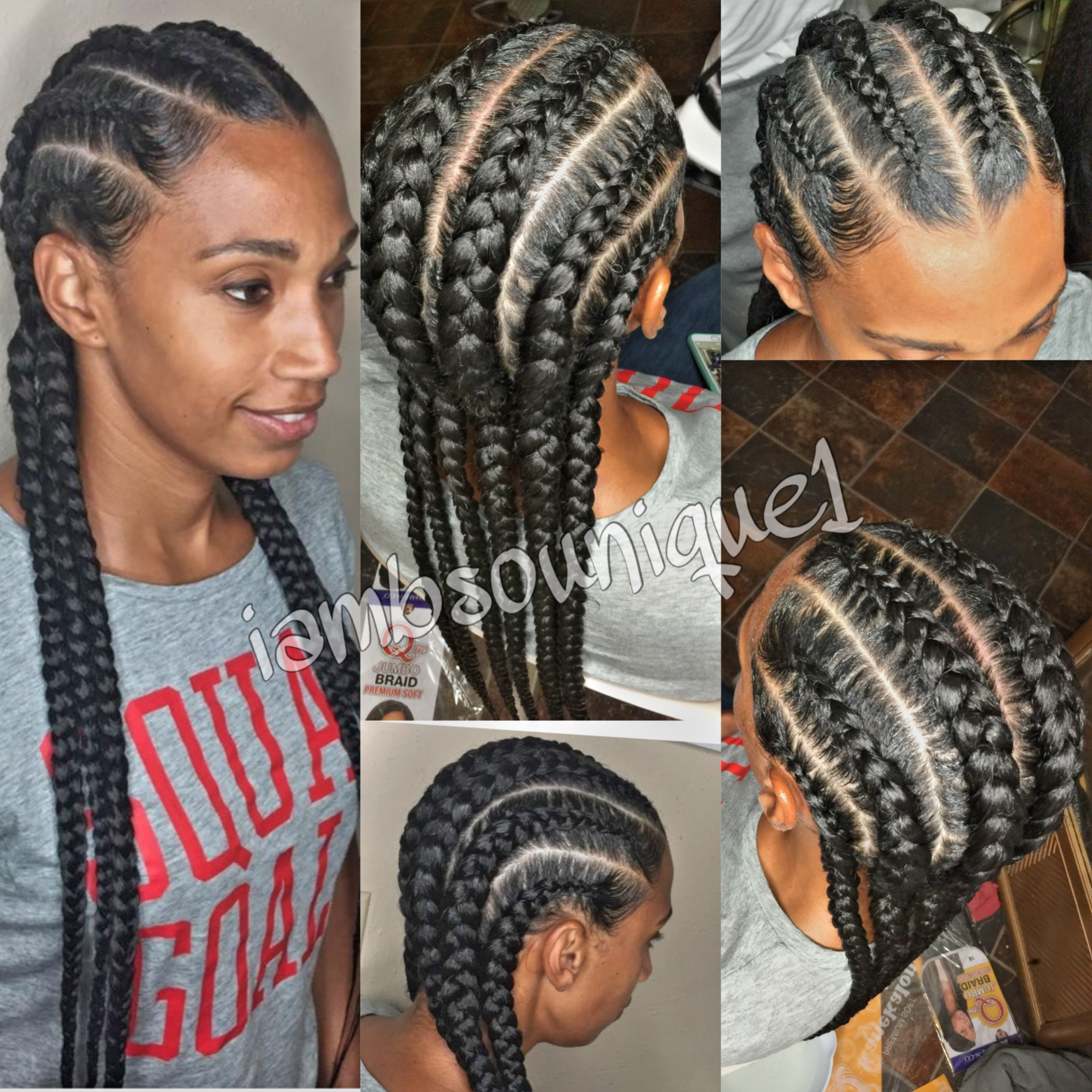 Straight back feed in braids | Feed In Braids | Braids ...