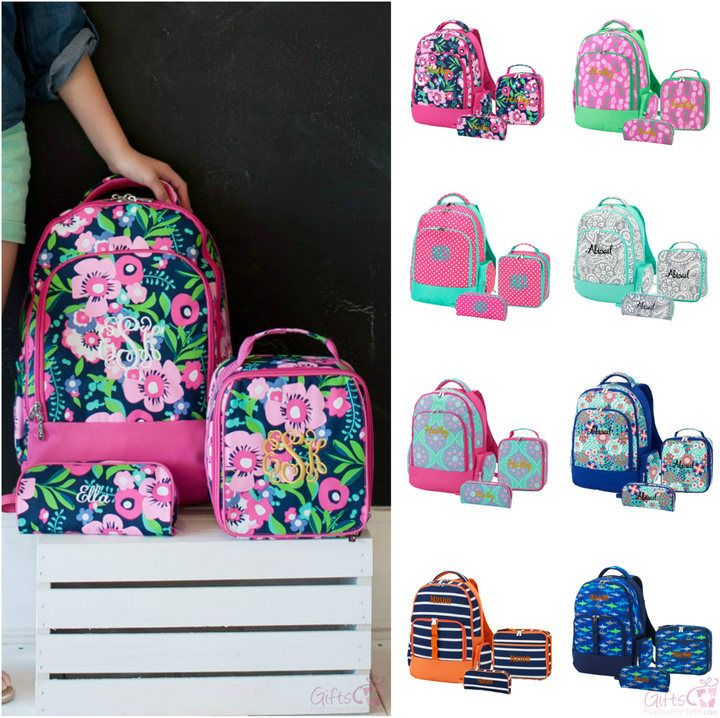 bff4e0209f Etsy Monogrammed Matching Backpack Lunchbox Pencil Case Set Girls Boys Kids  Personalized Bookbag Lunch Ba