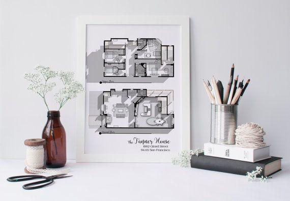 full house tv show floor plan in black and white - fuller house tv
