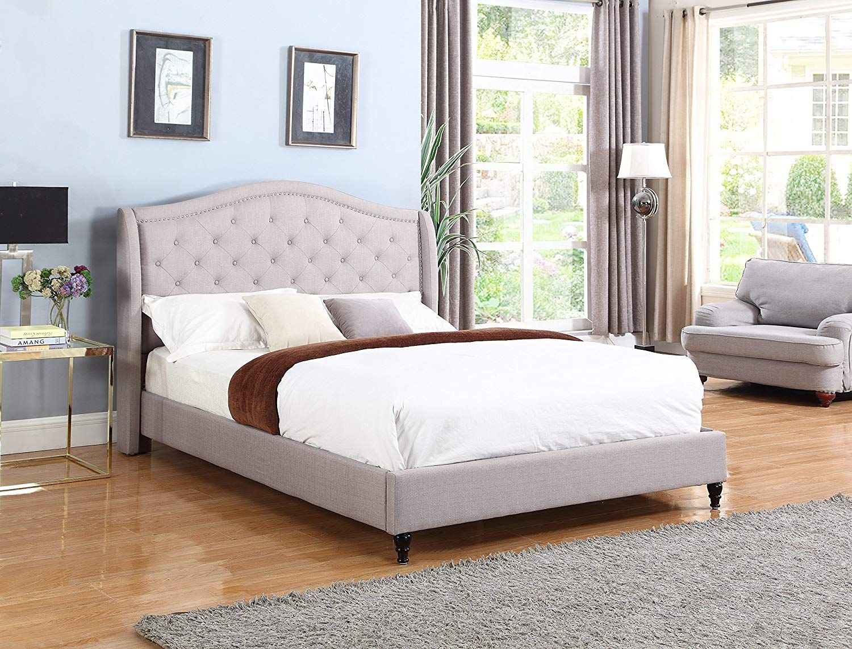 Queen Modern White Upholstered Platform Bed Curved Sides Headboard White Platform Bed Upholstered Platform Bed White Upholstered Bed