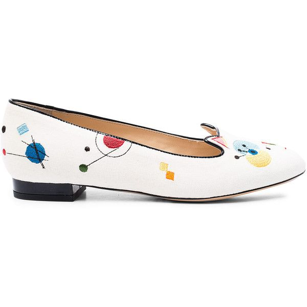 Charlotte Olympia Ivory Abstract Kitty Velvet Slipper Pumps ($635) ❤ liked on Polyvore featuring shoes, pumps, flat slip on shoes, flat pumps, ivory shoes, velvet flats and charlotte olympia shoes