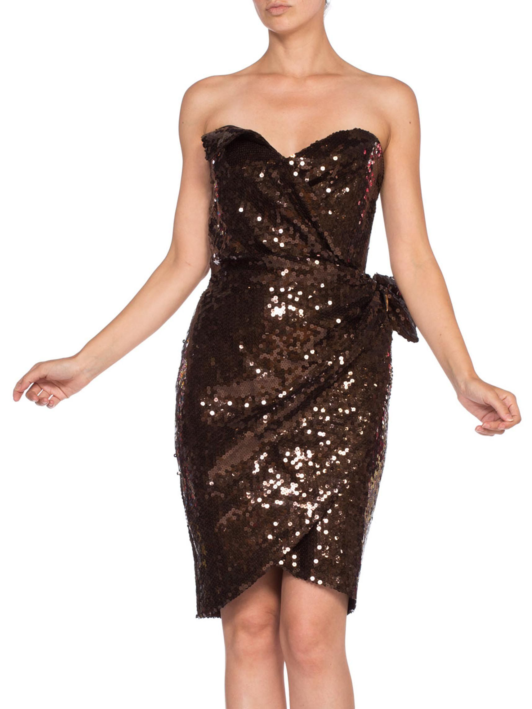 1980s Thierry Mugler Chocolate Brown Rayon Fully Sequined Strapless Cocktail Dress Strapless Cocktail Dresses Cocktail Dress Strapless Dress Formal [ 2287 x 1715 Pixel ]