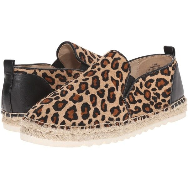 Nine West Noney5 (Natural Combo Pony) Women's Slip on  Shoes ($50) ❤ liked on Polyvore featuring shoes, animal print, nine west shoes, platform slip on shoes, small heel shoes, synthetic shoes and slip-on shoes